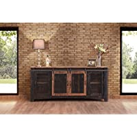 Anton Black Finish 80 Rustic Sliding Barn Door TV Stand Console
