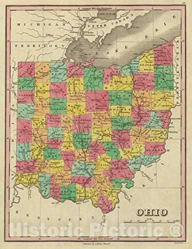 Historic Map | Classical Atlas Map, Ohio. 1831 | Vintage Wall Art | 18in x -