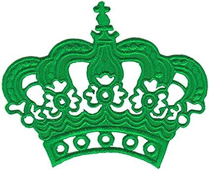 Verde corona parche plancha de planchar Iron on patches ...