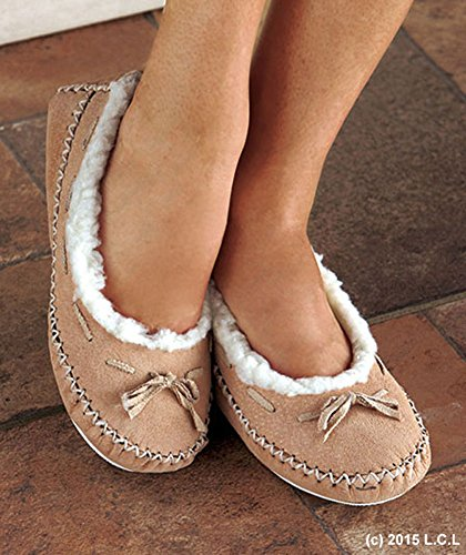Women Suede TAN MOCCASINS M 7/8 Slippers Fur Lining Shoes In/Out Mocassins