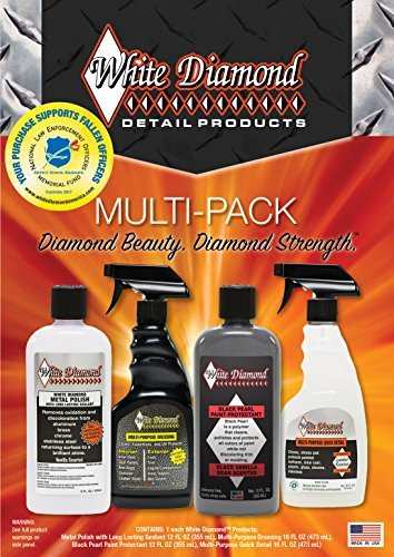 White Diamond Multi-Pack - 4 premium White Diamond Detail Products: metal polish with sealant, multi- purpose quick detail spray, paint cleaner and protectant and multi-purpose spray dressing.