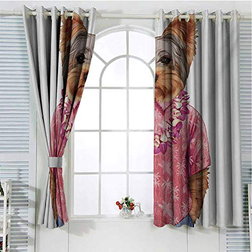 Price comparison product image Gloria Johnson Yorkiecurtains for bedrooPortrait of a Dog in Humanoid Form with a Pink Shirt with Hawaian Lei Fun Imagecurtain Living roomMulticolor84 x 72 inch