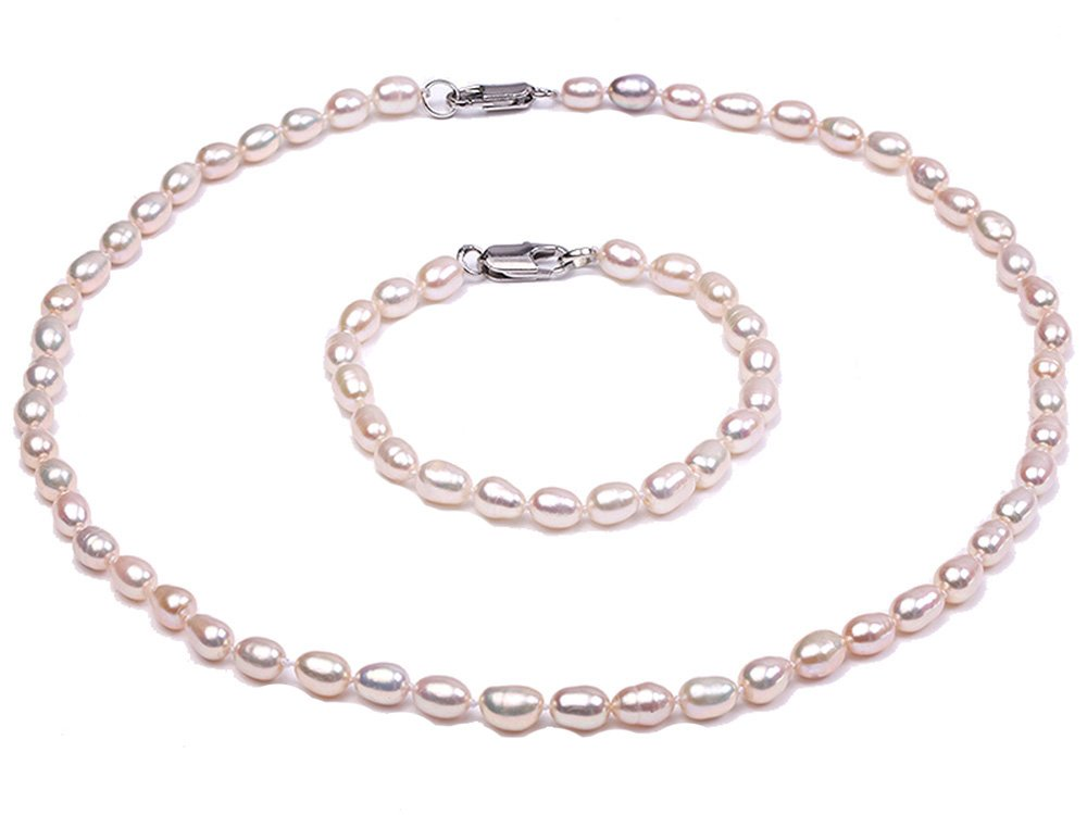 JYX Delicate Oval Freshwater Cultured Pearl Necklace Bracelet Jewelry Set