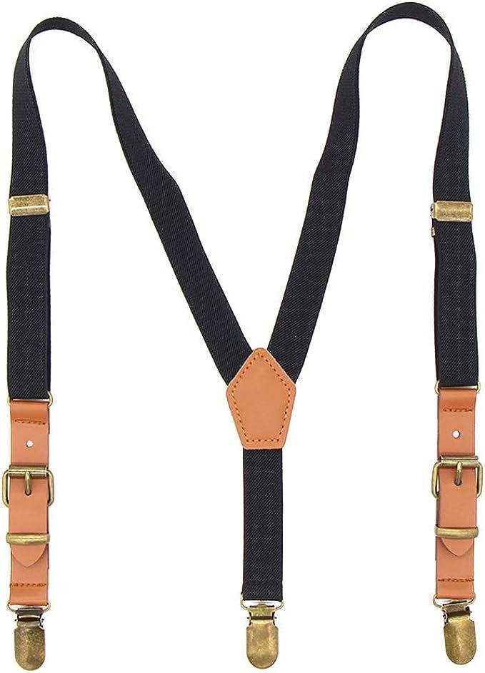 MENDENG Kids Suspenders Bow Tie Set Elastic Y-back Tuxedo Braces Bronze Clips