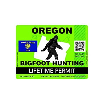 Bumper Sticker Bigfoot Hunting Permit OREGON
