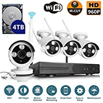VOYAGEA 960P HD Wireless 4CH Wireless monitoring 4 Channel 960P Wifi NVR CCTV Surveillance 1.3MP Outdoor Security Network Camera Support Motion Detection 4TB hard drive A10