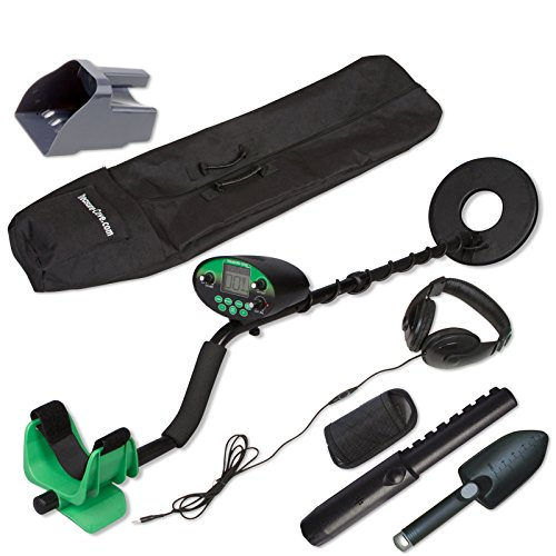 Treasure Cove TC-9800 Digital Metal Detector Pro Kit, Waterproof, Features With Handheld Pinpointer and Bonus Headset Sand Scoop and Carry Bag (Treasure Cove Metal Detector)