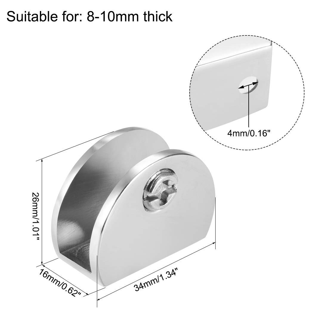 4 pcs sourcing map Supports pour tablettes de verre pince /à verre en alliage de zinc rond pour 5-8 mm