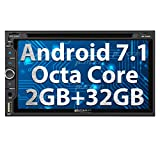 Android 7.1 Car Stereo Radio, 32GB+ 2GB Octa Core Double Din DVD CD Player with Bluetooth, GPS Navigation, Support WIFI, MirrorLink, AUX, Backup Camera, USB SD, Dash Cam, 6.95 inch Touch Screen