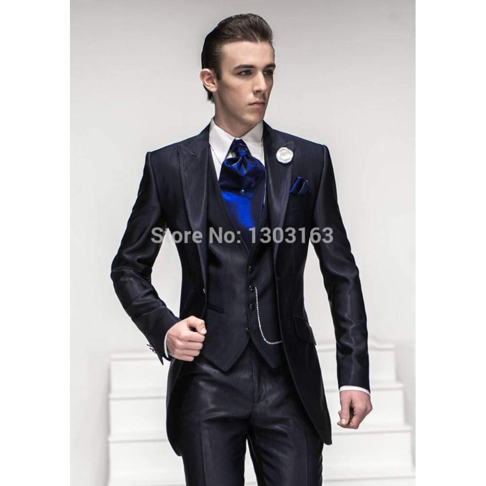 GFRBJK One Button Peak Lapel Groom Tuxedos Groomsmen Hombres ...