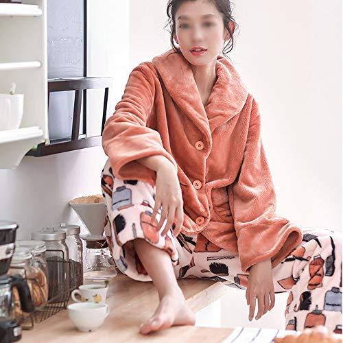 Muebles Piezas Impresión Invierno Color Cálidos Pijamas El Suelta Ocio Hembra Floja Para Hogar De Liruipengsy Rebeca Solapa Dos Gwdj Mantenga Pijamas Cómodos Stitching Conveniente nZwgxEx86q