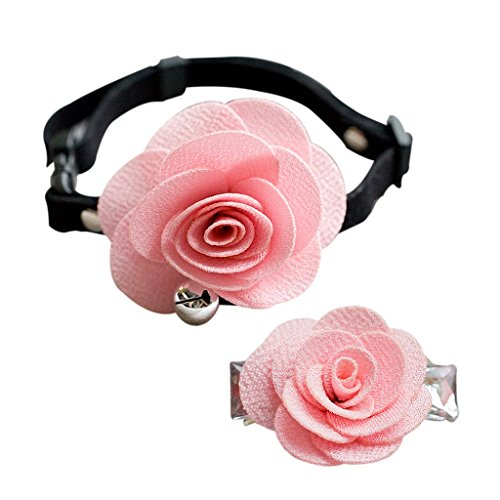 Dog Cat Puppy Rose Flower Lace Bell Hair Pin Bows Neck Tie Collar Set - Pink