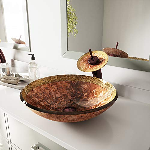 VIGO Janus Glass Vessel Bathroom Sink and Waterfall Faucet with Pop Up, Oil Rubbed - New Sink Vessel Glass