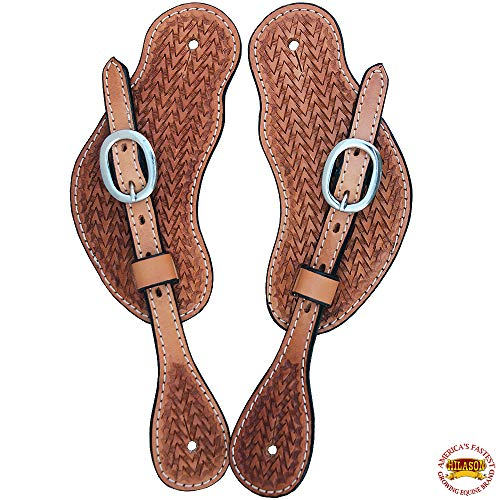 HILASON New Western Show TACK Hand Tooled Leather SPUR Straps Light Oil - Oil Tooled Saddle Light