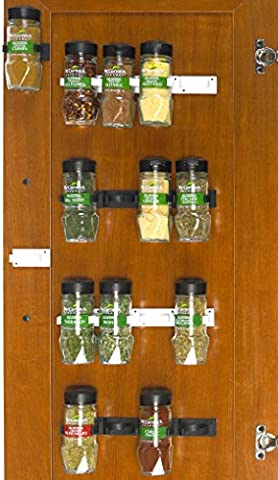 SimpleHouseware 30 Spice Gripper Clips Strips Cabinet Holder - 6 Strips, Holds 30 Jars - 30 White Clips