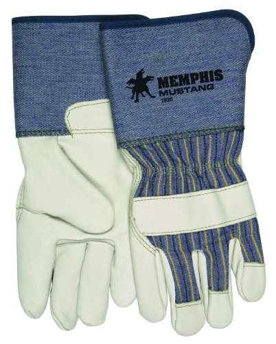 MCR Safety 1936L Mustang Full Grain Cow Leather Premium Grade Palm Gloves with 4-1/2-Inch Rubberized Gauntlet Cuffs, Cream, Large, 1-Pair