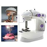 Sewing Machine, Mini Portable Sew 2-Speed Sewing Machine with Light + 4 Bobbins+Foot Pedal (UK Stock) (Purple)