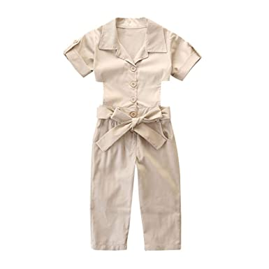 7489bd46b68c SSZZoo Toddler Kids Baby Girls Summer Jumpsuit Short Sleeve Solid Bowknot  Belt Overalls Onesies Outfits (