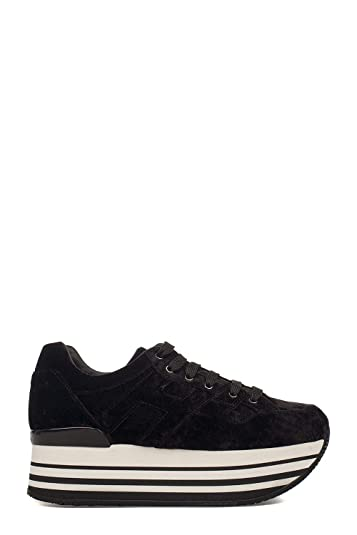 fe644b8f512 Image Unavailable. Image not available for. Color: HOGAN Women's  Hxw2830z770h1gb999 Black Fabric Sneakers