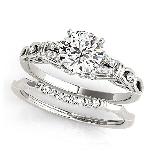 14K White Gold Unique Wedding Diamond Bridal Set Style MT50938