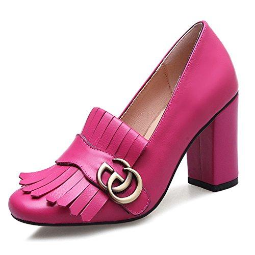 Nine Seven Cuero Puntera Cuadrada Zapatos de Tacón Grueso con Flecos para Mujer Rosa