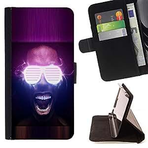 BullDog Case - FOR/Sony Xperia M2 / - / Neon Glow Party Glasses /- Monedero de cuero de la PU Llevar cubierta de la caja con el ID Credit Card Slots Flip funda de cuer