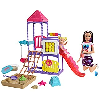 Barbie Skipper Babysitters Inc. Climb 'n Explore Playground Dolls & Playset with Babysitting Skipper Doll, Toddler Doll, Play Station, Moldable Sand & Accessories for Kids 3 to 7 Years Old