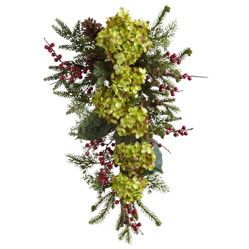 Nearly Natural 4940 Hydrangea, Pine and Berry Teardrop, 26-Inch, Multicolored/Gold/Orange by Nearly Natural