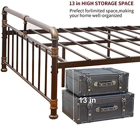 WAYTRIM Vintage Metal Bed Frame Platform with Headboard and Footboard, Heavy Duty Steel Slat Support, Box Spring Replacement, Retro Water Pipe Design – Queen Size 51iH0M2V7mL
