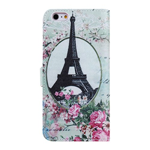 """iPhone 6 Case, iPhone 6 Wallet Case, NSSTAR Beautiful Eiffel Tower Penoy Plum Blossom Flower Floral Pattern Design Pu Leather Flip Protective Case Cover with Stand Wallet Case Cover for Apple iPhone 6 iPhone 6 4.7"""" (Eiffel Tower Penoy Flower)"""