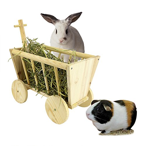 B&P Cute Hay Rack Stroller Made Of Real Wood For Bunny Chinchillas Guinea Pigs And Other Small Animal Pet 11.4x 7.5x8.27