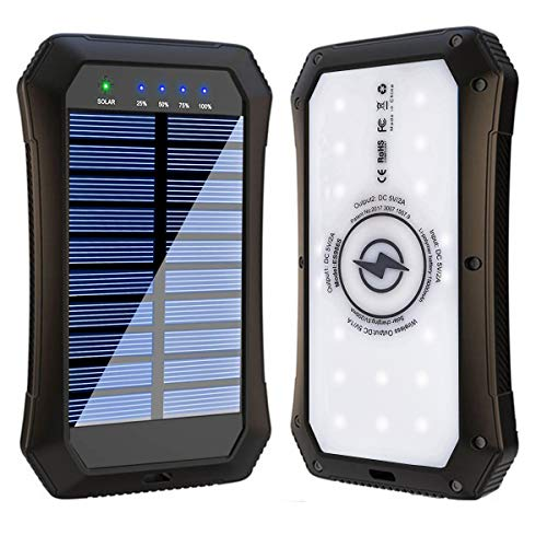 Solar Power Bank, Wireless 15000mAh Portable Charger External Battery Pack Qi Solar Phone Charger with 20 LED Flashlights and 2 USB Outputs Compatible with iPhone, iPad, Samsung and More