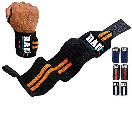 RAD Weight Lifting Training Wraps Wrist Support Gym Fitness Bandage Straps (Orange / Black, 12