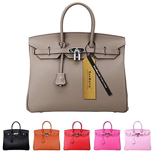 35 Birkin Bag - SanMario Designer Handbag Top Handle Padlock Women's Leather Bag with Silver Hardware Taupe Gray 35cm/14
