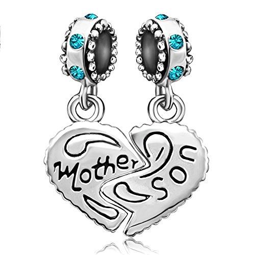JMQJewelry Heart Mom Charm Beads Mother Son Love December Birthstone Crsytal For Bracelets