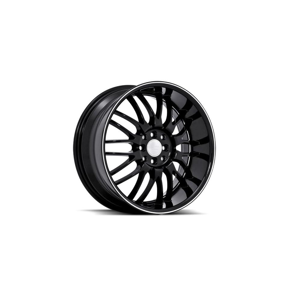 Ruff Racing R951 18x8 Honda Toyota Scion Acura Wheels Rims Black W Machine Stripe Wheels 4pc 1set