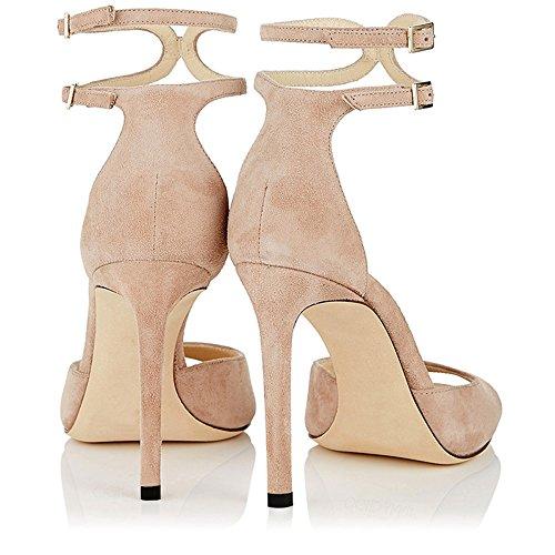 Heel Moda Noche Night Banquete Zapatos Peep Negro Toe High Club Large Marrón Strappy Mujer De 7fn7cOqIB