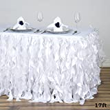 Tableclothsfactory 17ft Enchanting Curly Willow Taffeta Table Skirt - White