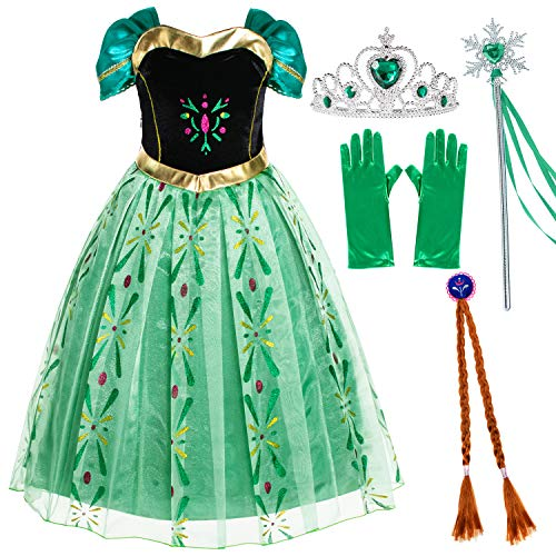 Party Chili Princess Costumes Birthday Party Fancy Dress Up for Little Girls 4T 5T (120cm)