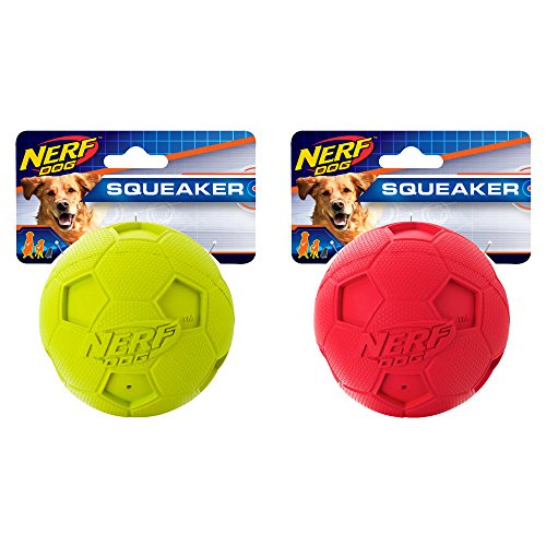 - Nerf Dog (2-Pack) Soccer Squeak Ball Dog Toy, Red/Green, Large