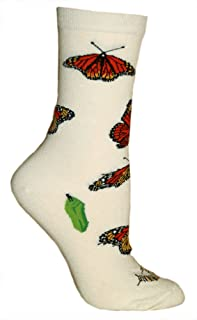 product image for Monarch Butterflies Tan Ultra Lightweight Cotton Crew Socks - Made in USA