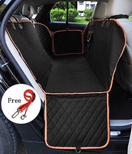 Pet Seat Covers Car Waterproof Dog Back Seat Cover Hammock Style Zipper Design Protector Washable Universal Dog Car Cover Seat for Cars Truck and SUVs Black