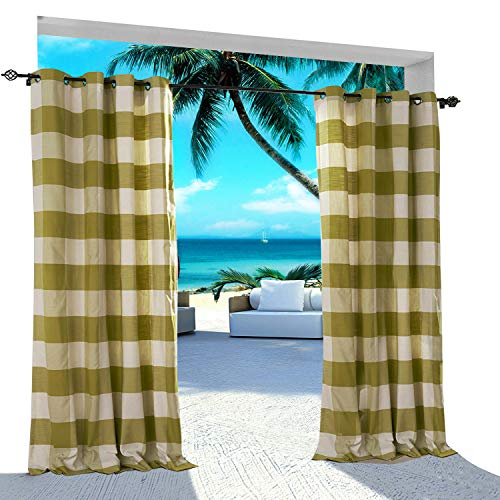 Gingham Plaid Outdoor Curtain 52