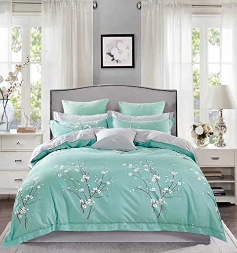 Japanese Oriental Style Cherry Blossom Floral Print Duvet Quilt Cover 3 Piece Cotton Bedding Set Full Queen or King Teal Blue and White (Asian Cherry Bed)