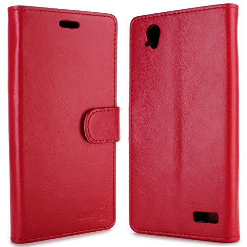 Warp Elite Wallet Case, CoverON [Executive Series] Synthetic Leather Flip Folio Cover Pouch LCD+Stand Case for ZTE Warp Elite - Red
