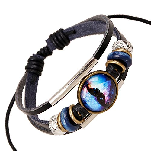 Punk Blue Dark Sky Big Beard Cute Style Metal Beads Silver Tube Adjustable Black Length - Styles Popular Beards