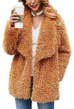Kiss Me omen's Fuzzy Fleece Lapel Open Front Long Jackets Oversized Faux Fur Warm Winter Outerwear Cardigan Coat with Pockets (Camel,S)