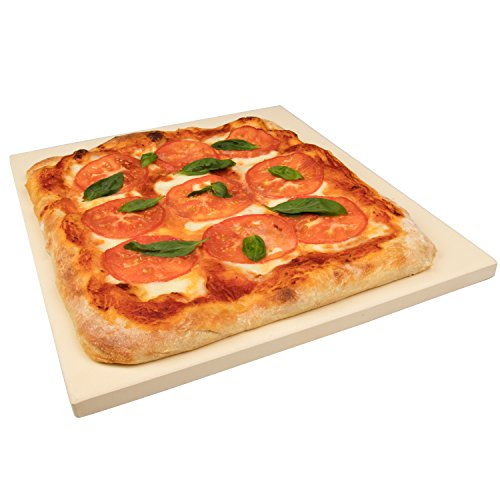 CucinaPro 815 Oven, Grill, BBQ-Rectangular Pizza Baking Stone-XL 16'' x 14'' Pan for Perfect Crispy Crust, Light Brown by CucinaPro (Image #1)