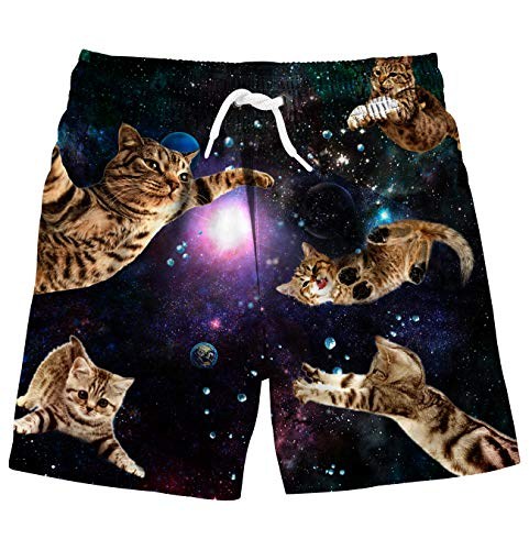 Uideazone Kid Toddler Little Boys Swim Trunks 3D Space Cat Printed Quick Dry with Drawstring ()