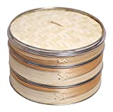 Livzing Two Tier Bamboo Steamer with Steel Ring Lid Perfect Set for Cooking Healthy Food